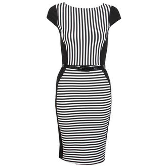 View Item Monochrome Belted Striped Curve Dress